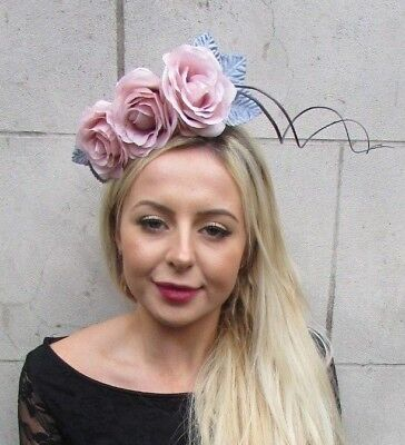 Blush Nude Light Pink Dark Grey Rose Flower Feather Fascinator Headband 6801