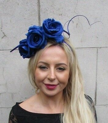 Royal Blue Rose Flower Quill Feather Fascinator Headband Hair Races Floral 6803