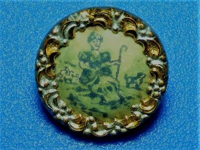 Antique Fabulous Rare Picture Celluloid Button Of Mary Had A Little Lamb