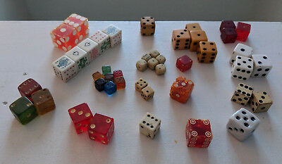 Lot of 45 Vintage Dice Assorted sizes and materials Estate Find