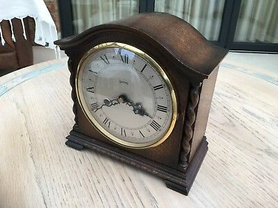 Vintage Antique Wooden Oak Mantle Clock Smiths of Enfield Chime 8 Day Movement