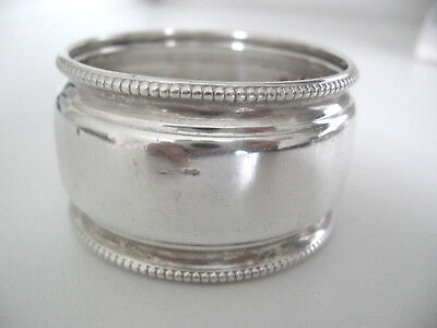 Beaded Dutch Sterling silver napkin ring engraved BILL.  Large antique ring