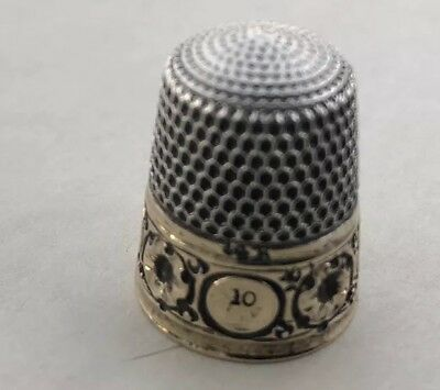 Antique Sterling Silver Gold Thimble