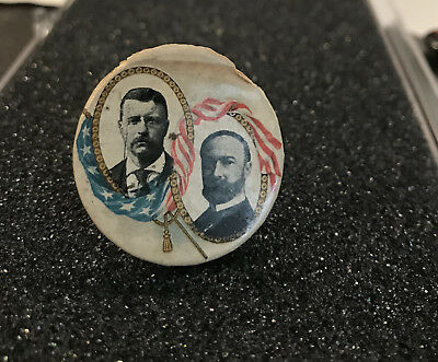 1904 Theodore Roosevelt / Charles Fairbanks flag jugate Pin Button