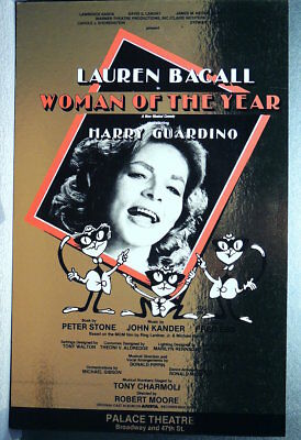TRITON offers Orig 1981 B'way Poster WOMAN OF THE YEAR Bacall   Rare Gold Foil