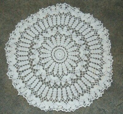 Doily Hand Crocheted Vintage Ivory Lot of 2