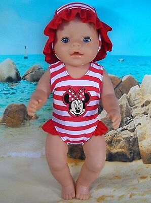 """Dolls clothes for17"""" Baby Born doll~MINNIE MOUSE RED STRIPE SWIMMING COSTUME~HAT"""