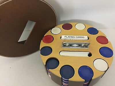 Vintage Wooden Poker Chip Caddy Holder with Chips & Leather Cover Deco Handle