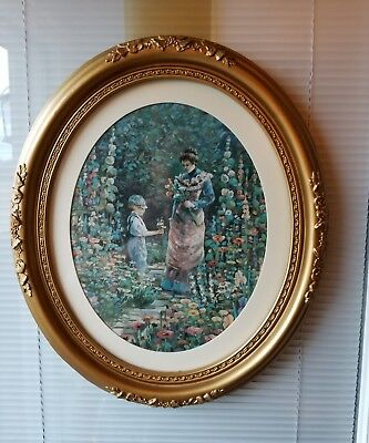 Vintage Home Interior Homco Gold Ornate Syroco Frame Picture Boy Mom In Garden