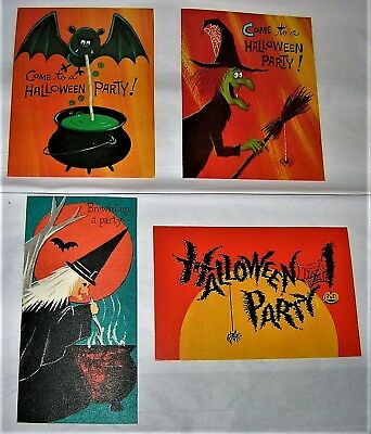 4 Asst. VINTAGE 1950's HALLOWEEN Party Invitation Cards with WITCH, BAT, SPIDER
