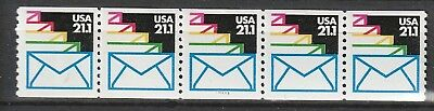 MNH - 2150 - Envelopes - COIL - strip of 5 stamps with P # 11111