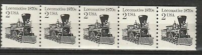 MNH - 2226a - Locomotive 1870s - strip of 5 stamps with P # 2
