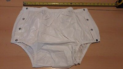 """Adult Baby Milky White Snap Plastic Pants In Pvc. Size Xxl, 32""""-46"""" Waist"""