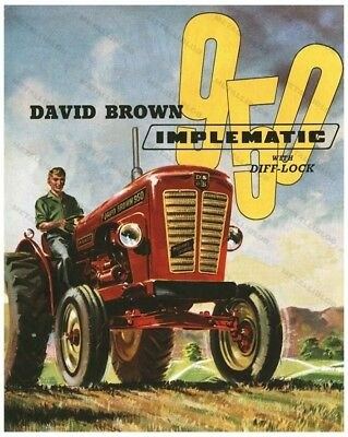 DAVID BROWN 950 Implematic - Tractor Advertising - Poster (A3) - NEW