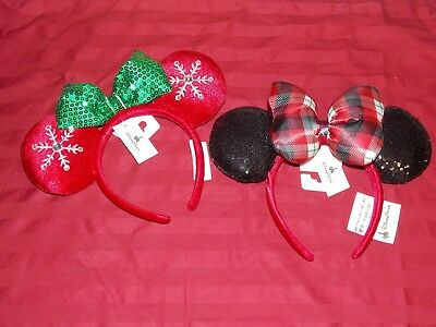 Disney Parks 2018 Christmas Red Jeweled Snowflake Plaid Minnie Ears Headband NWT
