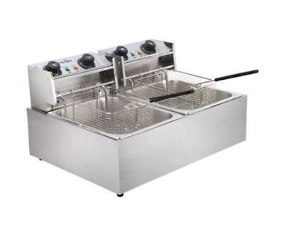 5 Star Chef Commercial Electric Twin Deep Fryer - Silver