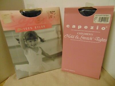 Capezio Child Footed Tights & Hold & Stretch Footless Tights BLACK  Sz Med LOT