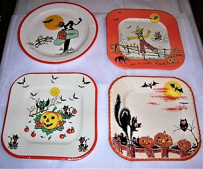 4 Asst. VINTAGE HALLOWEEN Paper Party Plates w/ BLACK CAT, BAT, SCARECROW, OWL