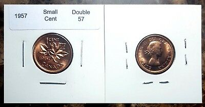 Canada 1957 *Double 57* Small Cent Choice to Gem BU Red!!