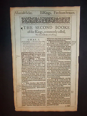 1611 King James Bible Leaf-Folio-Title Page to the Book of 2nd Kings -Engraving