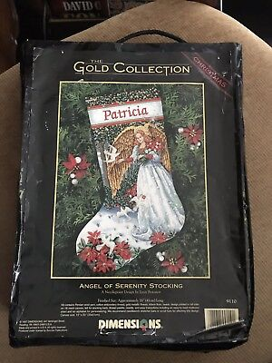 Angel Of Serenity Stocking Dimensions Gold Collection Needlepoint Kit 1997 USA