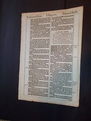 1611 King James Bible Leaf-Folio-1st Samuel-Abigail-Nabal-David-Engraving-Wow!