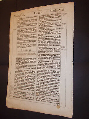 1611 King James Bible Leaf-Folio-Noah's ARK!, Enoch's Rapture-Seth through Noah