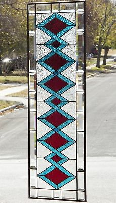 "• Exquisite Turquoise and Red •HUGE -40 1/2"" x 14 1/2""Beveled Stained Glass"