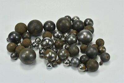 """Antique MIXED LOT of 56 METAL STEELIES BRASS MARBLES 15/64"""" - 1 1/4"""" OLD #06679"""