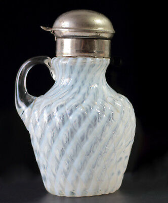 Victorian BUCKEYE GLASS c. 1880s White Opalescent REVERSE SWIRL Syrup Pitcher
