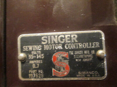 Singer Sewing Motor Controller #197629 Foot Pedal 2 Prong