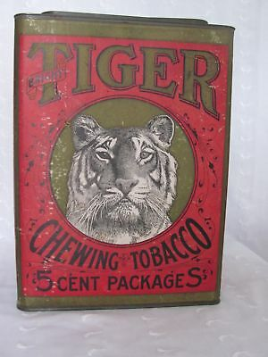 Vintage ~ TIGER CHEWING TOBACCO TIN ~ Advertising Store Counter Bin ~ VERY NICE!
