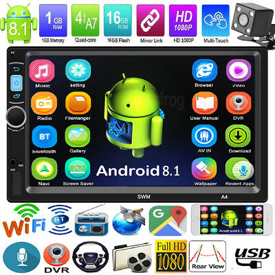 Android 8.1 Quad Core 2Din  7'' GPS Navi Car Stereo MP5 Player FM Radio Wifi Cam