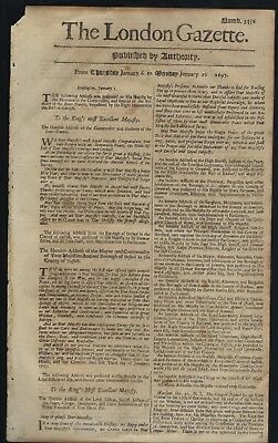 Antique Rare 17th Century NEWSPAPER Old LONDON GAZETTE England RARE 1697