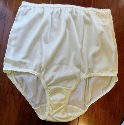 NWOT UNDERSCORE YELLOW shiny sheer NYLON elastic leg brief style panties SIZE 5
