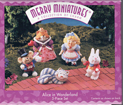 Hallmark Merry Miniatures Alice in Wonderland 5 piece set / Lewis Carroll