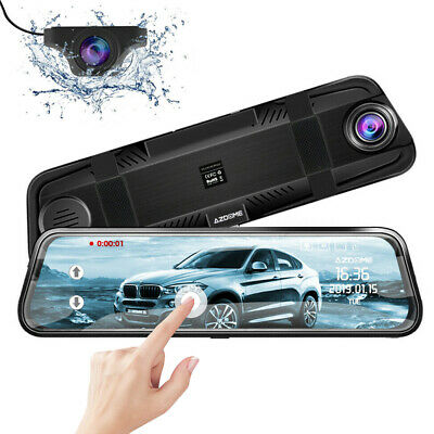 "AZDOME 10"" Mirror Dash Cam Car Streaming Media Touching Dual Lens Night Vision"