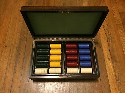 Unique 1000 Chip Set Costom Uspc Poker Chip Set 1928 Original Box Case,  Casino
