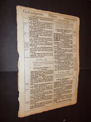 1611 King James Bible Leaf-Folio-PSALMS 10-16!!!-Engraved Letters-The Fool! WOW!
