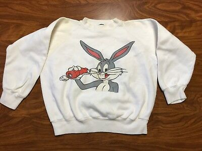 Vintage 60's 70's Looney Tunes Bugs Bunny Cartoon White Sweatshirt Youth Small