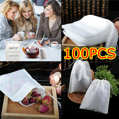 100X Disposable Tea Bags Empty Drawstring Seal Filter Tea Bags for Leaf Tea OZ