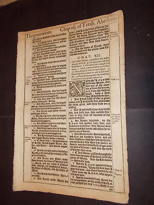 1611 King James Bible Leaf-Folio-The Abrahamic Covenant!-Genesis 12-I Will Bless