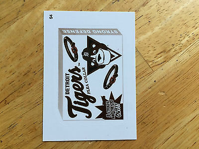 2016 Topps Mlb Wacky Packages Sepia Sticker Detroit Tigers Flea Collar 54 Meow