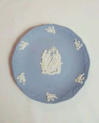 "Vtg 1999 WEDGWOOD Blue Jasper Religious Holy Family Christmas Plate ""Adoration"""