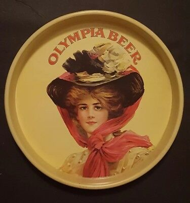 """Vintage 1972 Olympia Brewing Co. Victorian Woman Beer 13"""" Metal Serving Tray"""