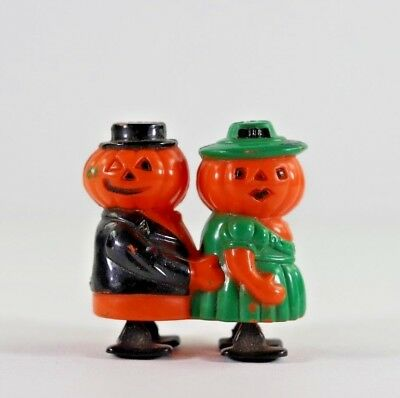 Vintage Fun World Hong Kong Hard Plastic Mr. and Mrs. Jack O Lantern Ramp Walker