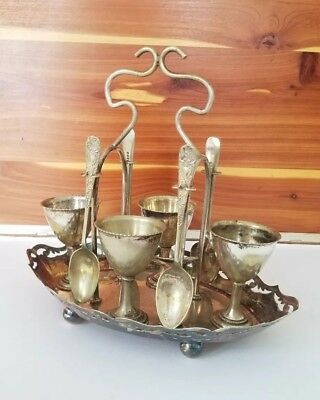 Vintage Ornate Silver Plated EPNS Egg Cup Cruet Set & Spoons on Stand Set