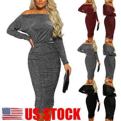 US Womens Off Shoulder Wrap Long Dress Bodycon Evening Cocktail Party Dress