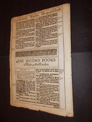 1611 King James Bible Leaf-Folio-Title Page to the Book EXODUS -Engraving-