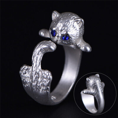 Women Silver Plated Lovely Cat Adjustable Open Ring Animal Fashion Retro RS